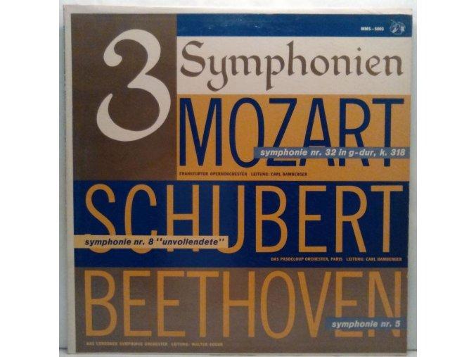 """LP Mozart, Schubert, Beethoven - 3 Symphonien - Mozart: Symphonie Nr. 32 In G-Dur, K. 318, Schubert: Symphonie Nr. 8 """"Unvollendete"""", Beethoven: Symphonie Nr. 5"""