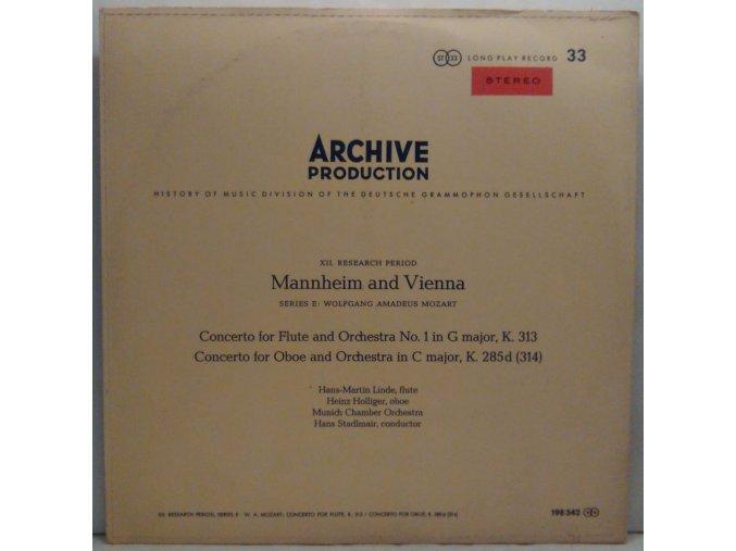 LP Wolfgang Amadeus Mozart - Heinz Holliger, Hans-Martin Linde, Münchener Kammerorchester/Hans Stadlmair - Mannheim und Wien, 1965