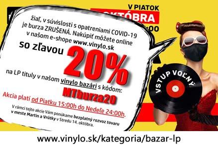 ONLINE Zľava 20% na originálne vinylové platne (LP, SP, EP)