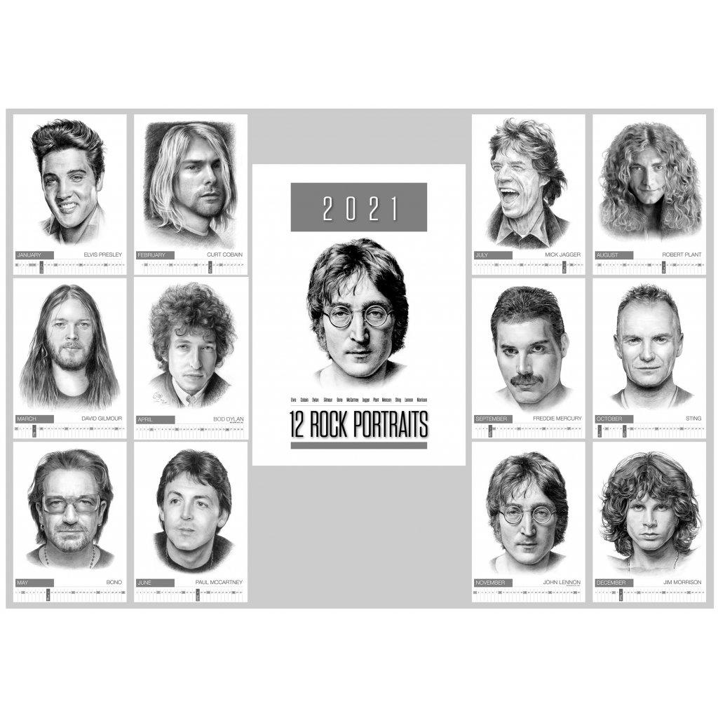VINYLO.SK | Unikátny kalendár kreslených portrétov rockových hviezd 2021