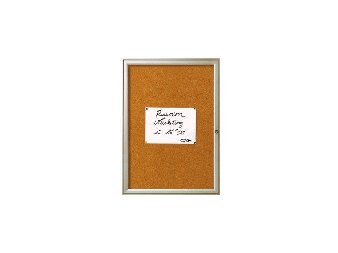 Jednokřídlá vitrína REFERENCE 4xA4 korek, barva