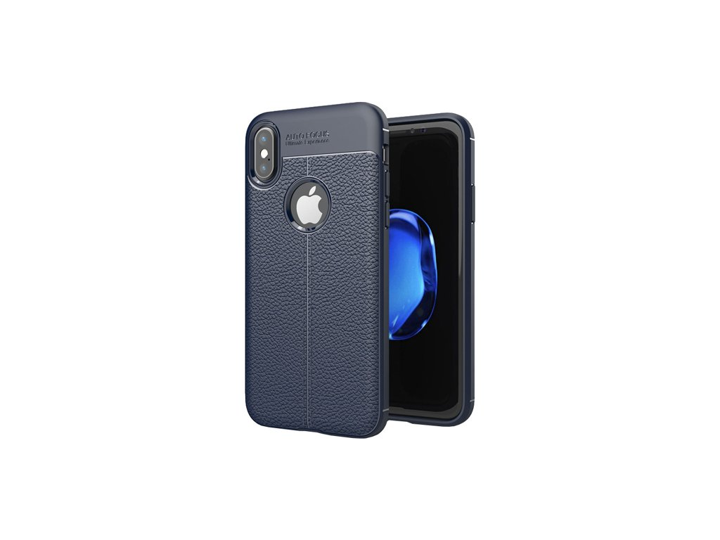 eng pm Litchi Pattern Flexible Cover TPU Case for iPhone XS X blue 37863 1