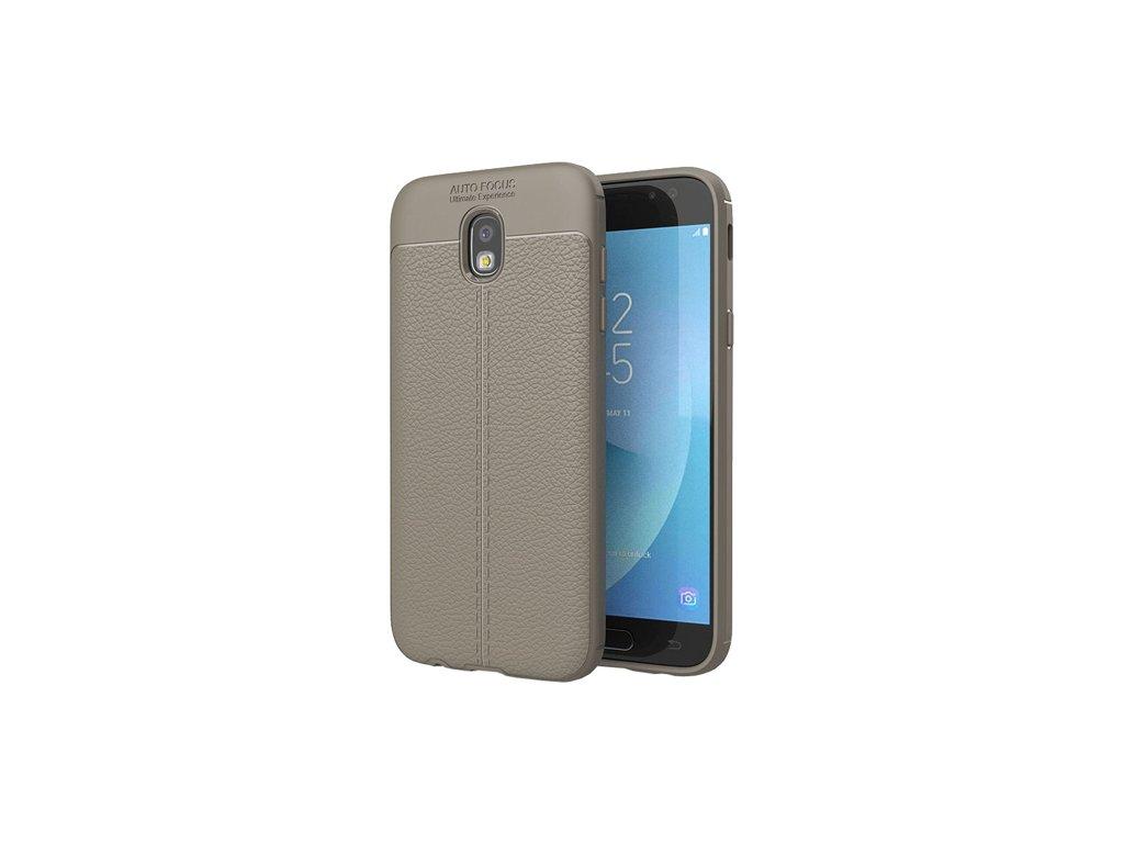 Litchi Pattern flexibilní kryt TPU pro Samsung Galaxy J3 2017 J330 šedé