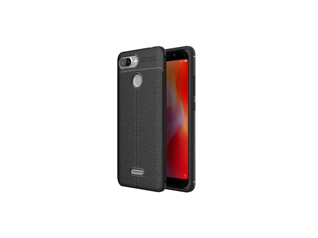 Litchi Pattern flexibilní kryt TPU pro Xiaomi Redmi 6, černé