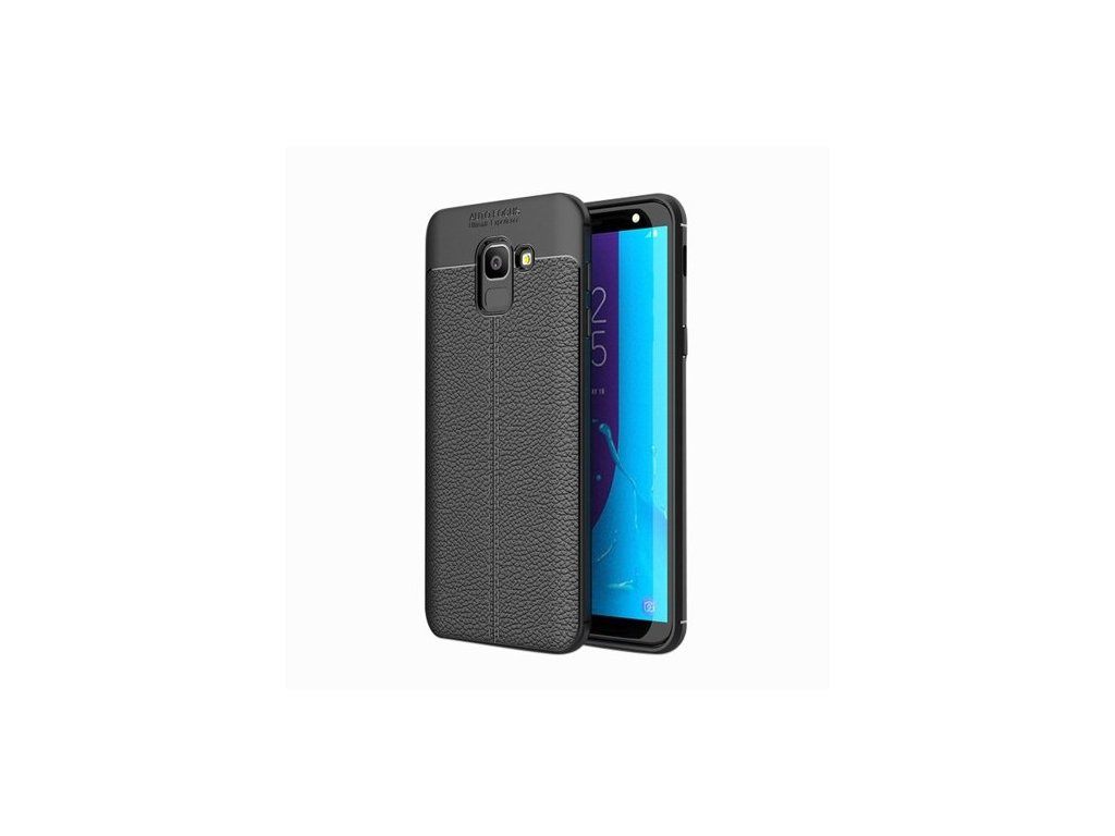 Litchi Pattern flexibilní kryt TPU pro Samsung Galaxy J6 J600 2018, černé