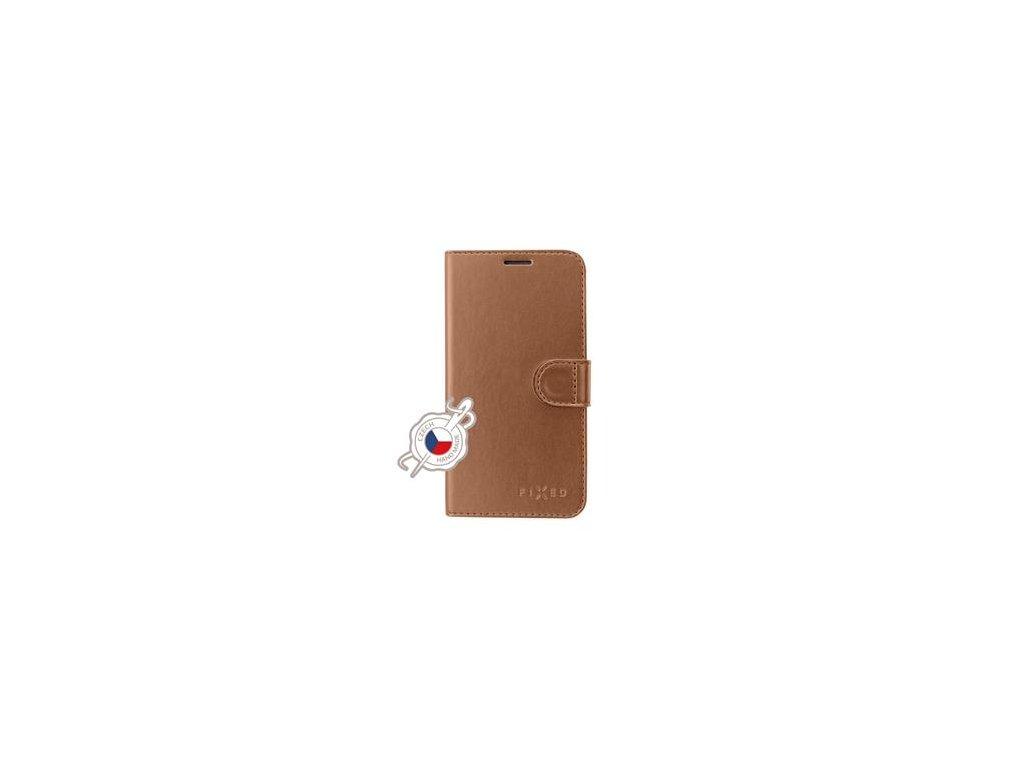 Pouzdro typu kniha FIXED FIT Shine pro Samsung Galaxy J4+, bronzové