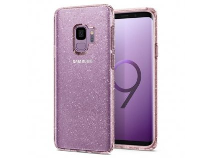 Pouzdro SPIGEN Liquid Crystal Glitter s třpytkama Samsung  galaxy S9, růžové