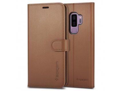 Knížkove pouzdro Spigen Samsung Galaxy S9 Plus, hnědé