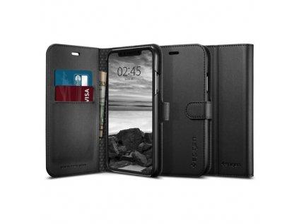 Knížkové pouzdro Spigen Wallet S iPhone X / XS, černé