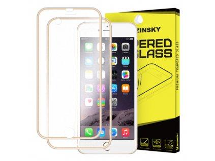 Wozinsky tvrzené sklo přes celý displej + zadní část s hliníkovým rámem iPhone 6S Plus / 6 Plus, zlaté