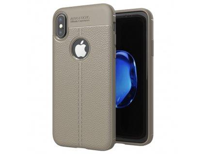 Litchi Pattern flexibilní kryt TPU pouzdro pro iPhone XS / X šedé