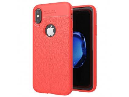 Litchi Pattern flexibilní kryt TPU pouzdro pro iPhone XS / X, červené