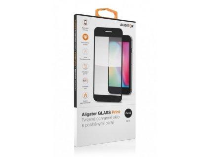Samsung Galaxy A52 (5G) ,ochranné tvrzené sklo ALIGATOR PRINT, černá, celoplošné lepení