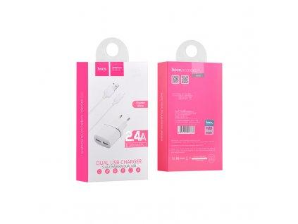 #hoco#c12 smart dual usb charger white set micro usb