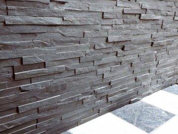 Kamenný obklad VIPSTONE Břidlice černá - tenký pásek