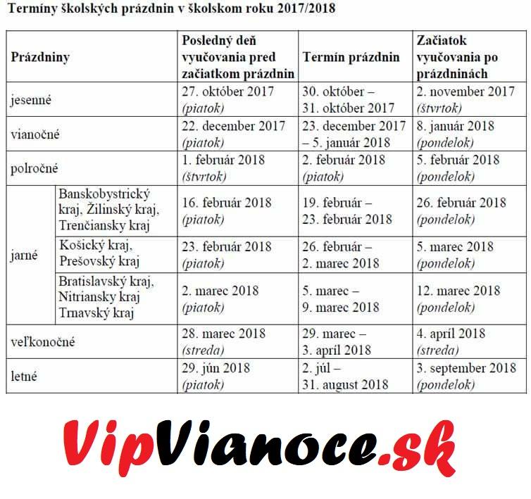 Termín školských prázdnin na školský rok 2017-2018