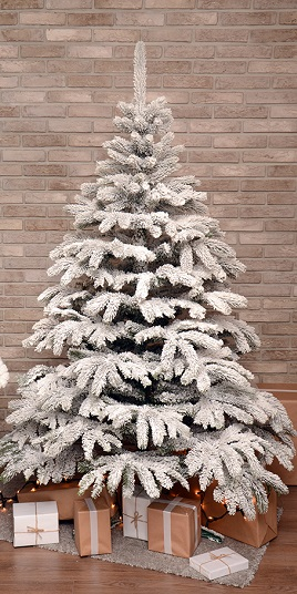 biely snehový zasnežený vianočný stromček