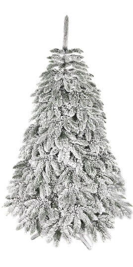 snehové vianočné stromčeky biele