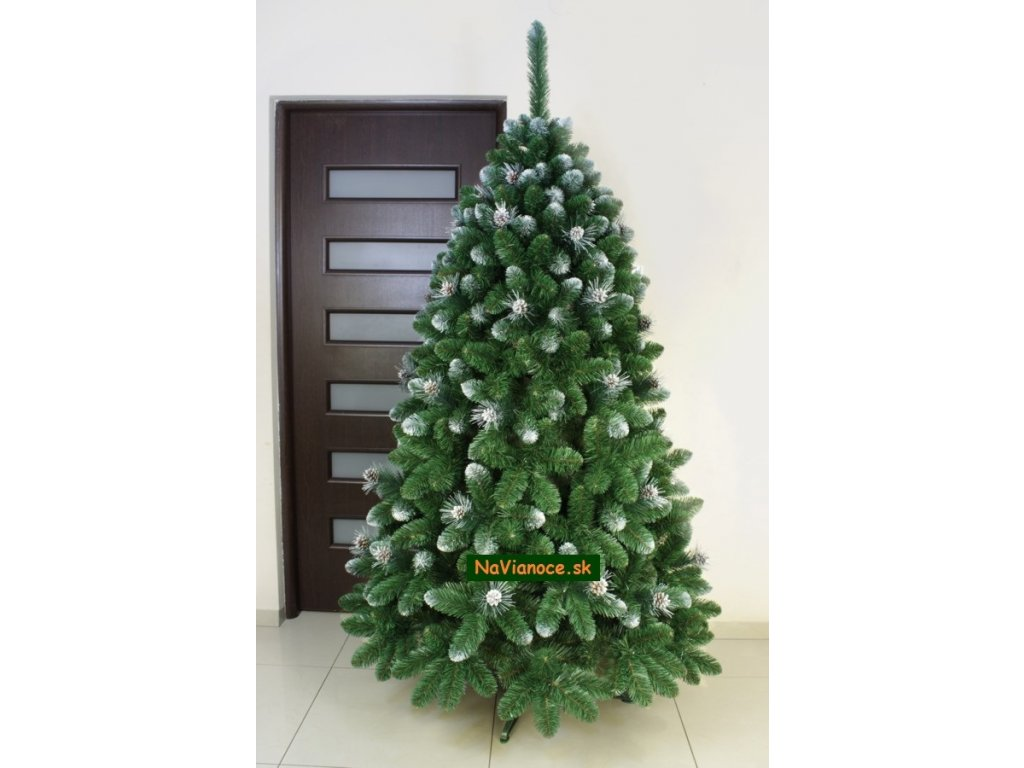 0d6b5c4e5 Bielo strieborné vianočné stromčeky so šiškami.