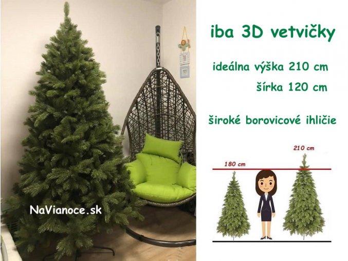 umely vianocny stromcek borovica full cela 3d ihlicie 210 220 cm