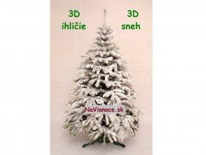 snehový vianočný stromček 3D biely zasnežený