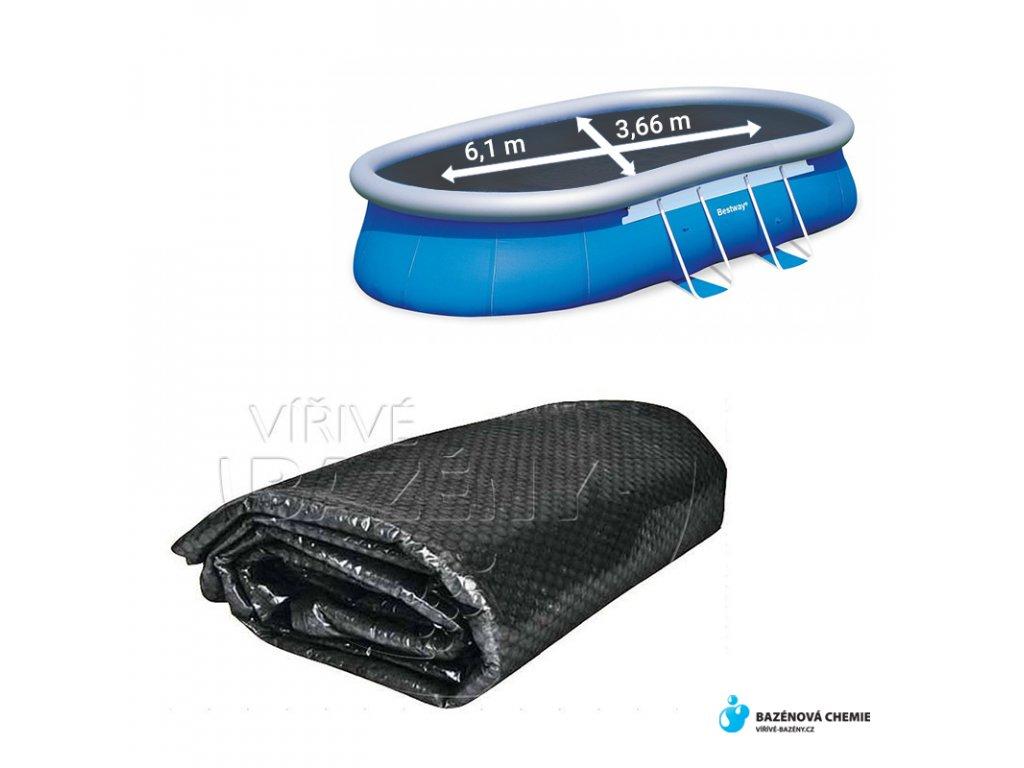 Solární plachta na bazén - ovál 6,1 x 3,7m černá