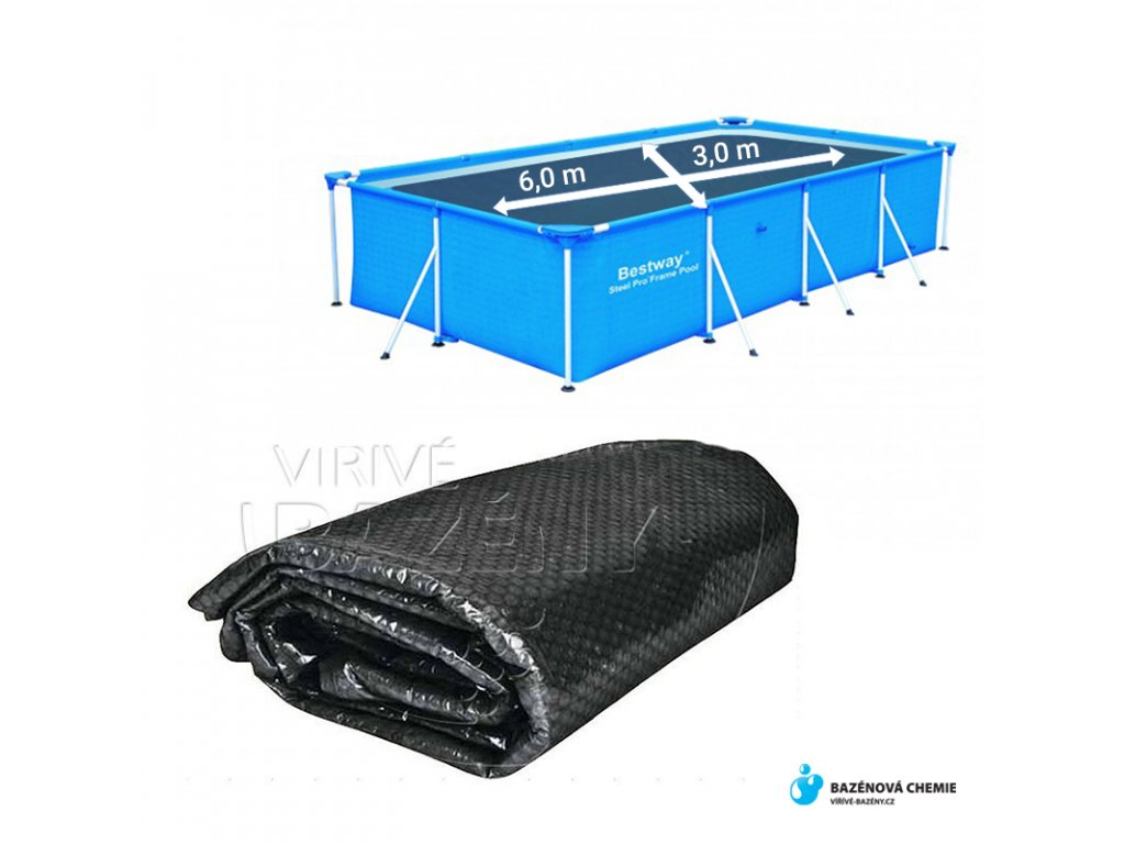 Solární plachta na bazén obdélník 6 m x 3 m černá 200 mic