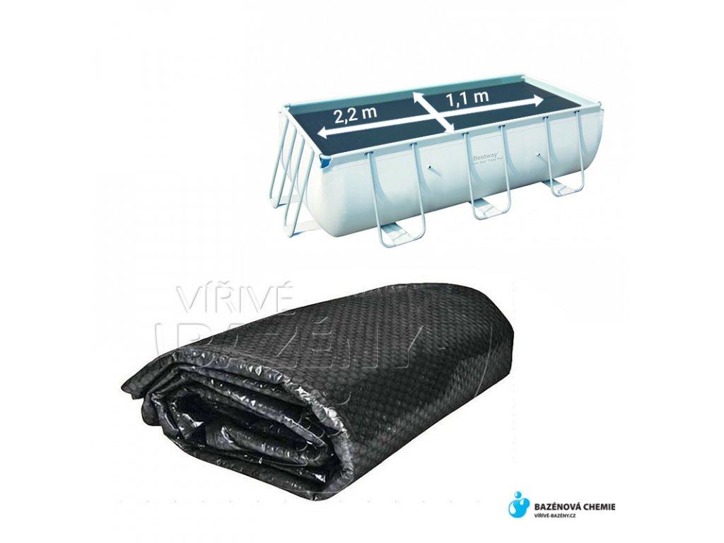 Solární plachta na bazén obdélník 2,2 m x 1,1 m černá 360 mic
