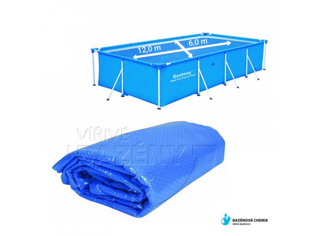 Solární plachta na bazén obdélník 12 m x 6 m modrá 180 mic