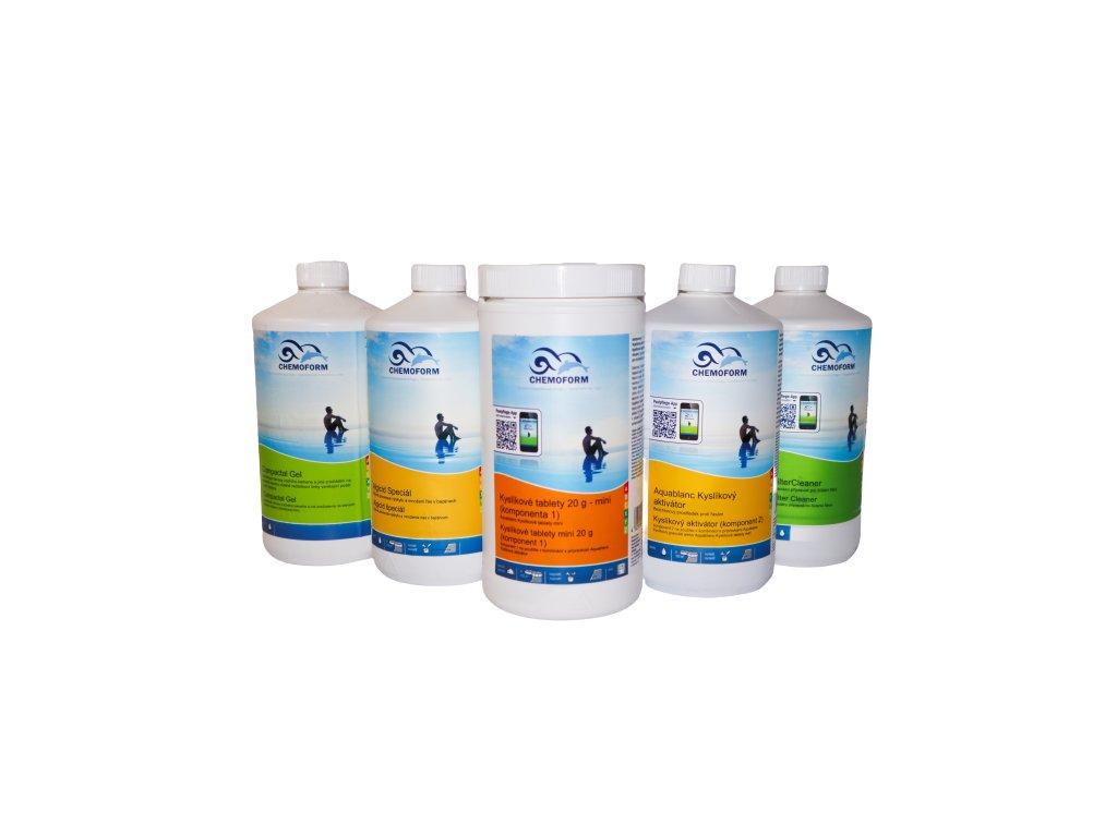 Startovací kyslíková bazénová sada -  kyslíkové tablety, kyslíkový aktivátor, algicid, vločkovač, filter cleaner, compactal gel
