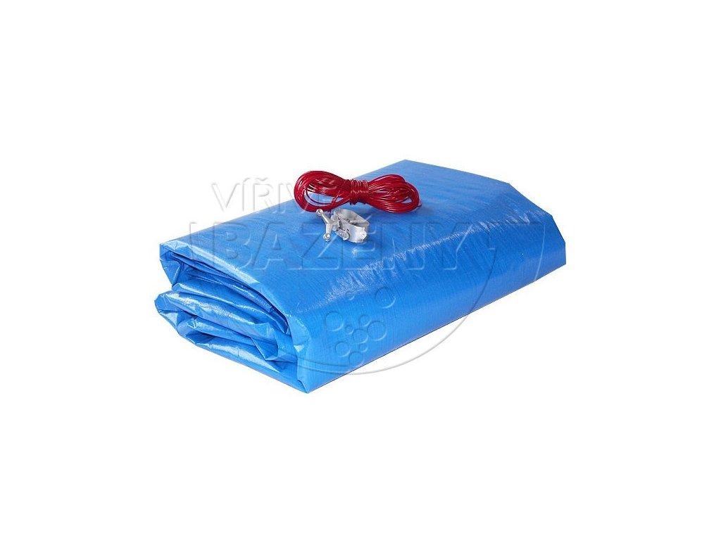 Krycí plachta na bazén zazimovací  - ovál 8,5 x 4,8m ( na bazén 7,3x3,7 m) 200 g/m2 modrá