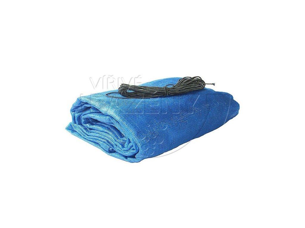 Zakrytí bazénů - krycí sít s oky ovál 6 x 4,1m ( bazén 5,5x3,7m ) 115 g/m2 modrá
