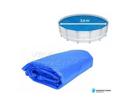 Solární folie na bazén průměr 3,6m kruhová- modrá
