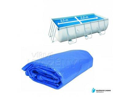Solární plachta na bazén obdélník 3 m x 2 m modrá 180 mic