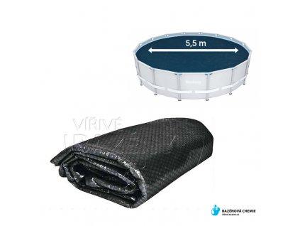 Solární folie na bazén černá  průměr 5,5m kruhová