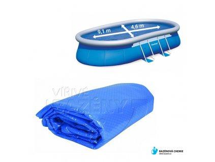 Solární plachta na bazén 9,1 x 4,6m (oválná)  - 360 mic