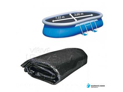 Solární folie na bazén černá - ovál 3,7*7,3m
