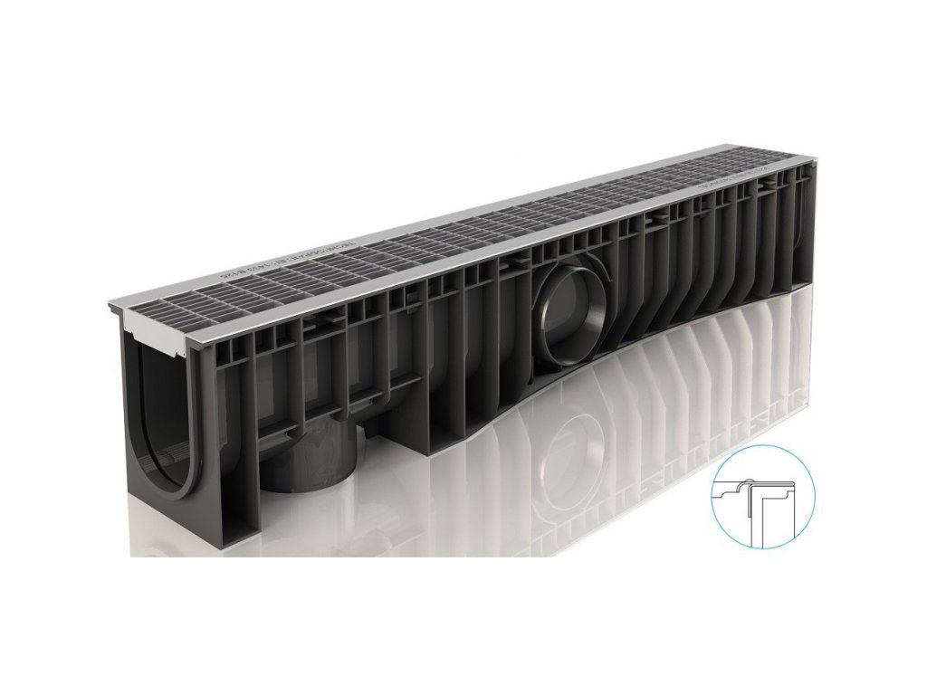Odvodňovací žlaby plastové NEO 100H Hustý pozink rošt 12,5 t (1000 x 150 x 185 mm)