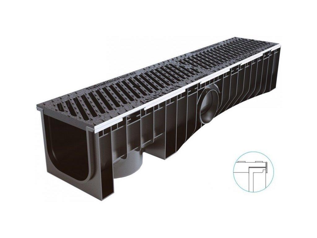 Odvodňovací žlaby plastové NEOMAX 150H litinová mříž 25 t (1000 x 204 x 191 mm)