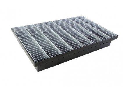 Vstupní rohož s pozinkovanou mříží 580x365x100 odtok 50 - 110 mm