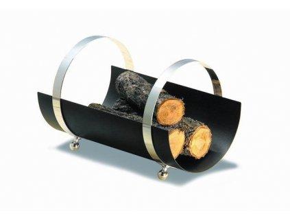 Koš na dřevo ke krbu antracit / chrom 30 x 50 x 35 cm