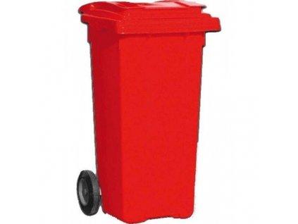 Plastová popelnice 120 litrů PVC hranatá červená