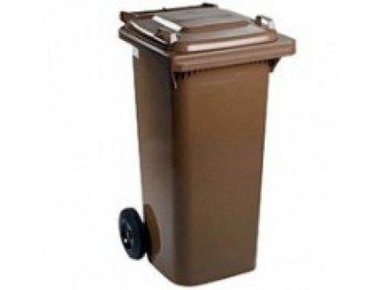 Plastová popelnice 120 litrů PVC hranatá hnědá