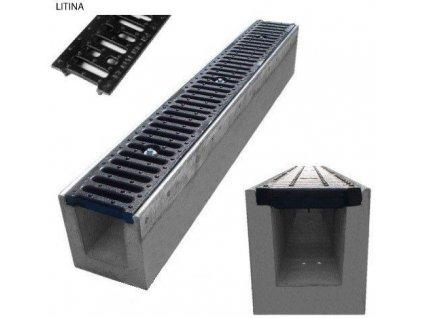 Odvodňovací žlab BETONOVÝ šedá litina 12,5t (1000x145x200)