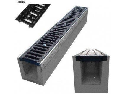 Odvodňovací žlab BETONOVÝ šedá litina 12,5t (1000x145x220)