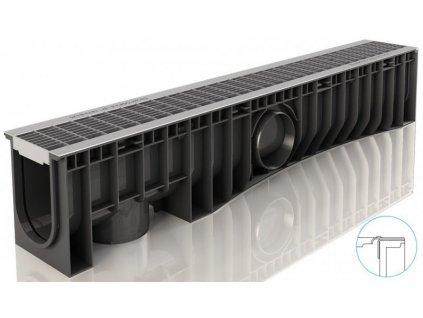 Odvodňovací žlaby plastové NEO 150H Hustý pozink rošt 12,5 t (1000 x 200 x 185 mm)