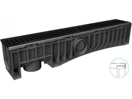 Odvodňovací žlaby plastové NEOMAX 150H litinová mříž 12,5 t (1000 x 204 x 191 mm)