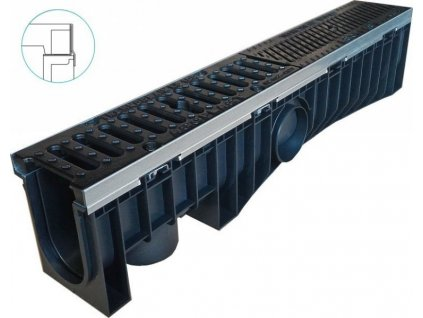 Odvodňovací žlaby plastové EVOMAX 100H litinová mříž 25 t (1000 x 150 x 209 mm)