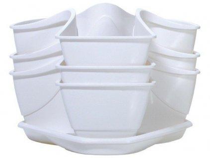 Bylinkové plastové květináče Coubi Herbal bílý