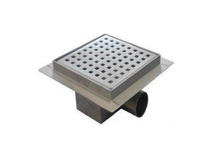 Koupelnová podlahová vpusť nerezová s roštem Pixel 150 mm